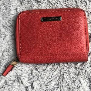 Tiffany & co pebbled coral zip around wallet